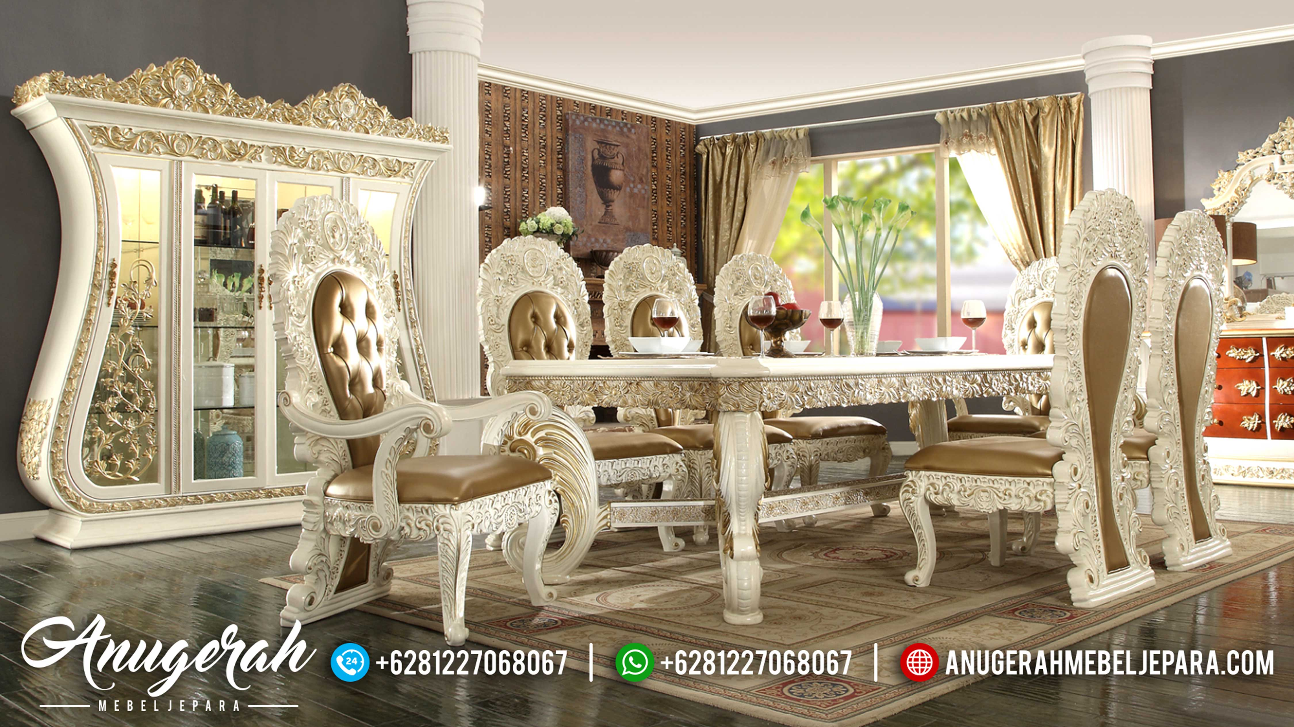 Classic Furniture Meja Makan Mewah Jepara Terbaru Royal Luxury AM-0024